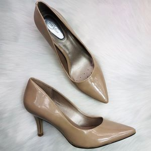 Alfani Step N Flex Nude Patent Pointed Toe Heels